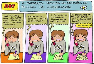 A Margarito, técnico de gestión, le revisan la subvención