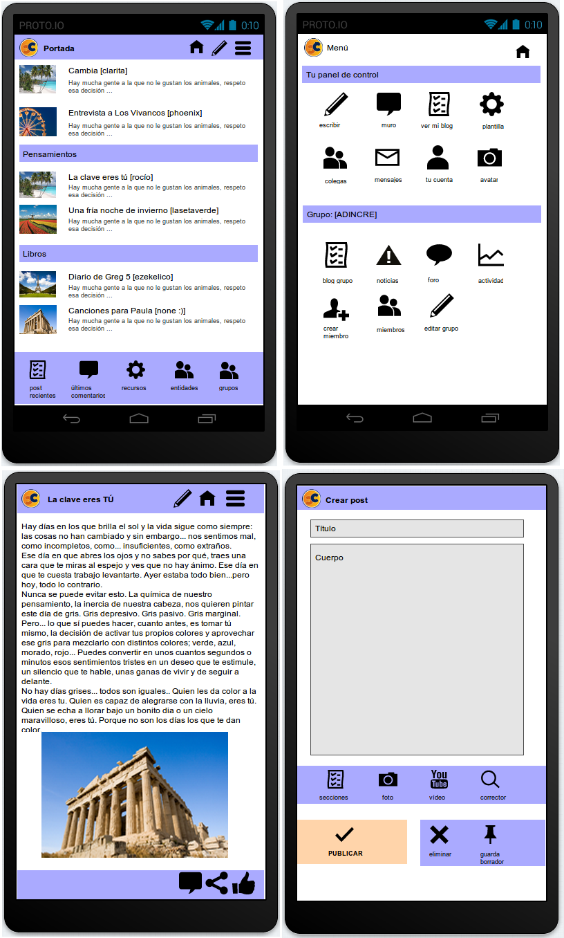 Bocetos de prototipo para app de Cibercorresponsales