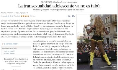 """Comentando la noticia """"La transexualidad adolescente ya no es tabú"""""""