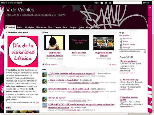 V de Visibles, red social de activismo lésbico montada con Ning