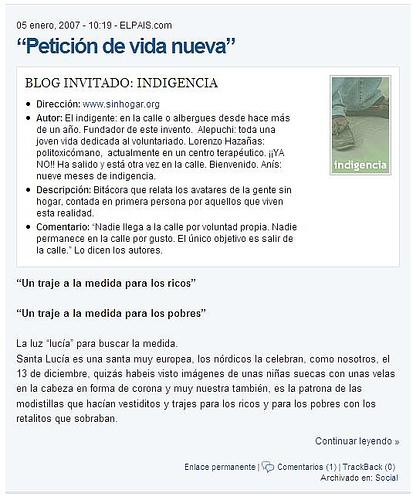 Indigencia en el blog de blóguers de El País