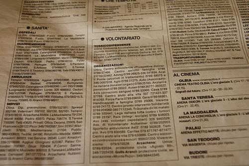 Sección de voluntariado en un periódico sardo