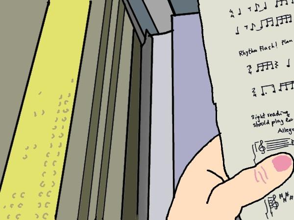 dibujo - estudiando rítmica en el metro