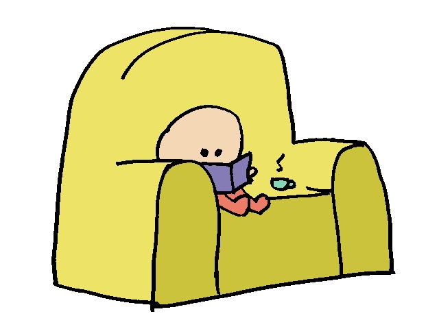 Dibujo: nene leyendo en el sofá