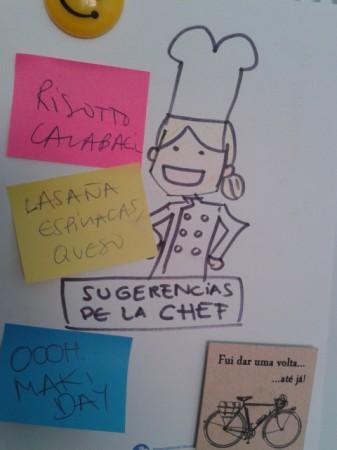 Dibujo de muñeca disfrazada de chef. Post its con posibles comidas. Rissoto, maki, lasaña