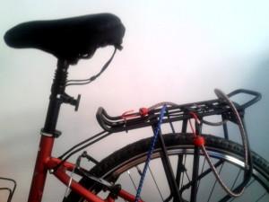 bicicleta preciosa con transportín y pulpos