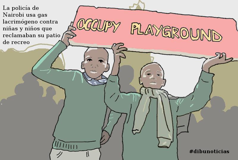 #dibunoticias La policía de Nairobi usa gas lacrimógeno contra niñas y niños que protestaban por su patio de recreo