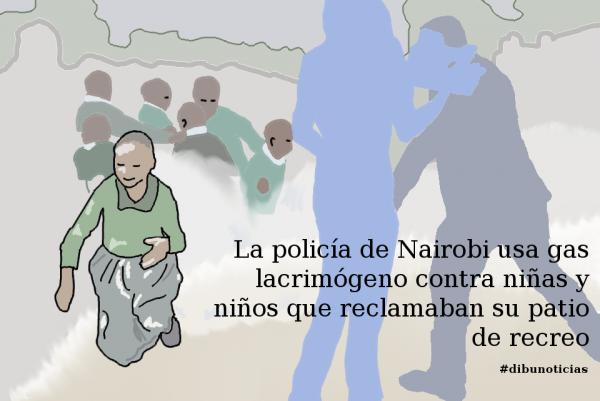 DIBUNOTICIA - La policía de Nairobi usa gas lacrimógeno contra niñas y niños que protestaban por su patio de recreo 3