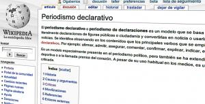 periodismo declarativo en la wikipedia