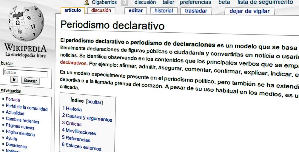 """Notas sobre la entrada de Wikipedia """"Periodismo declarativo"""""""