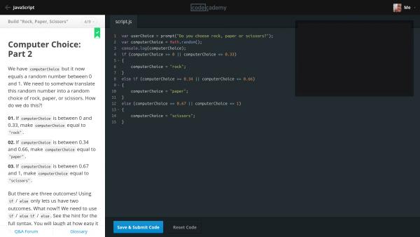codecademy - javascript exercise