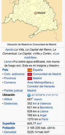 Captura de pantalla de la tabla de datos en Wikipedia de la entrada de Madrid