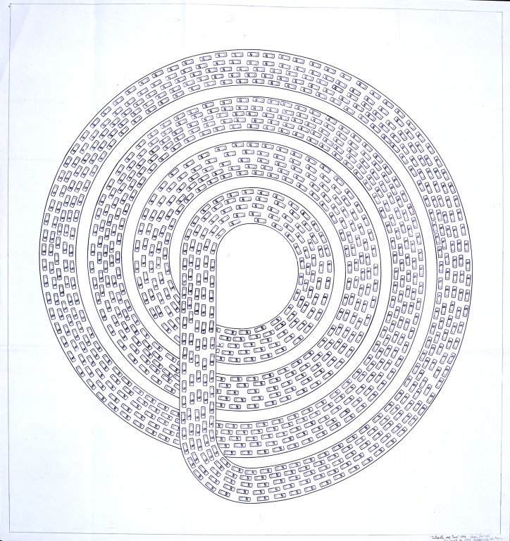 Diseño de carretera espiral repleta de coches
