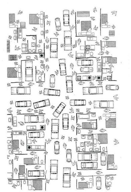 Diseño de plano de casa caótica con muchos coches aparcados dentro