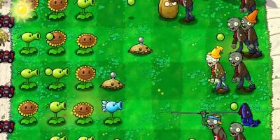 Una pantalla inicial de Plants Versus Zombies