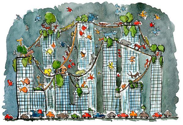 Fuente diseñada con conexiones para animales que van de rascacielos a rascacielos mientras los coches siguen en las carreteras
