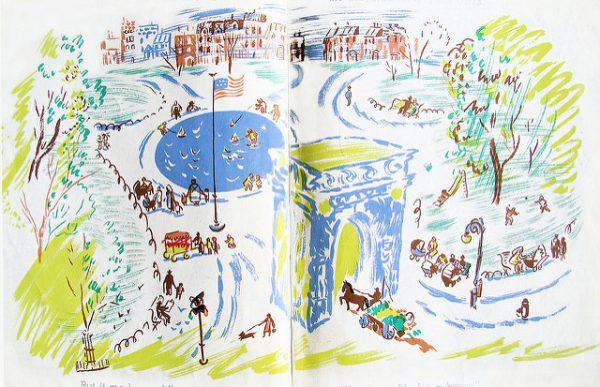 ilustración con parque y arco triunfal