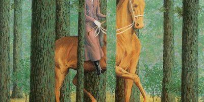 Amazona cabalgando por un bosque. A veces los árboles le tapan y otras veces ella tapa los árboles