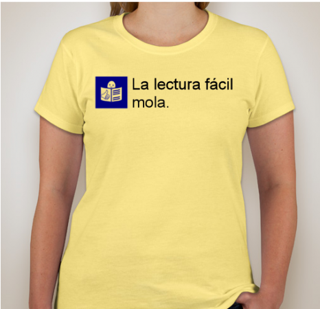 """camiseta en la que pone """"la lectura fácil mola"""""""