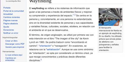 captura de pantalla de la entrada de wikipedia sobre wayfinding