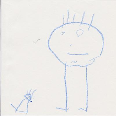 Un monigote grande y uno pequeño. Primer dibujo narrativo de una niña llamada Ada. La niña está enfadada porque no puede encontrar a su madre.