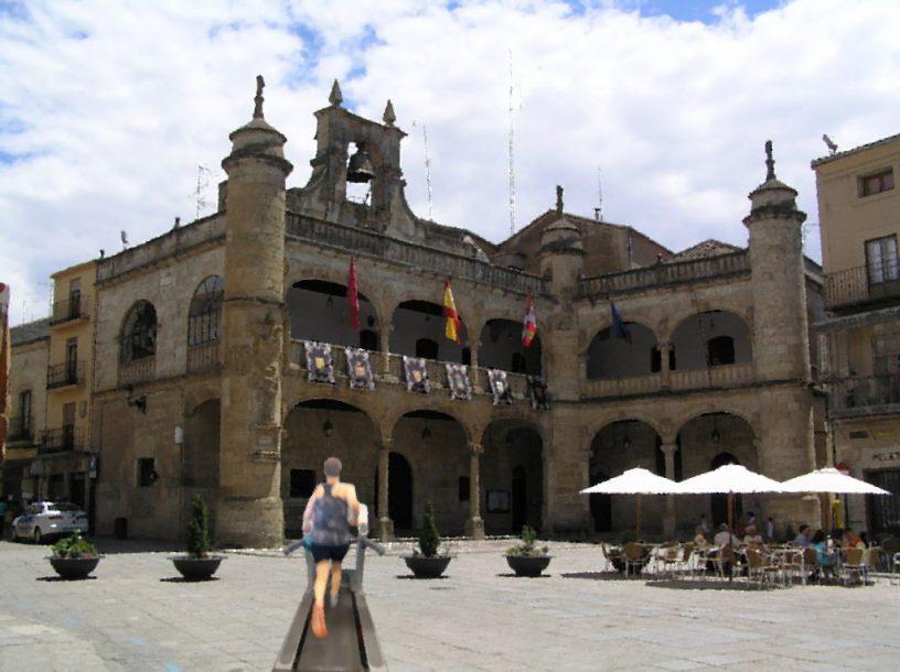 En la foto, podéis verme llegar triunfante en mi cinta de correr a Ciudad Rodrigo.
