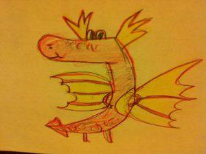 Dragón dibujado por Gloria, niña de 6 años