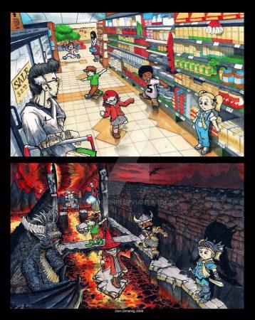 Un grupo de niñas y niños en un supermercado pisa sólo las baldosas oscuras. En una segunda imagen, se entienden que juegan a la aventura. Las baldosas claras son lava y las oscuras son piedras.