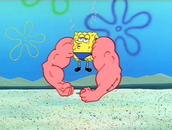 bob esponja con músculos en los brazos