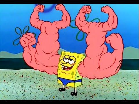 bob esponja con músculos en los músculos