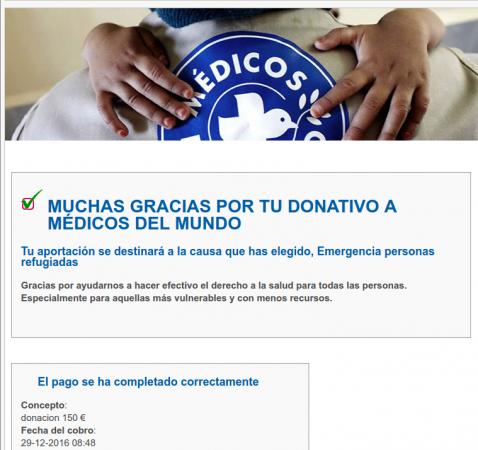 donación médicos del mundo 2016 de 150 euros