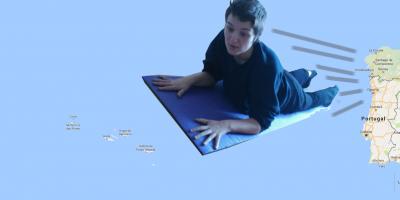 sobrevolando el atlántico en una esterilla de estiramientos