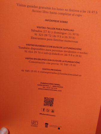 folleto informativo de una exposición de fundación canal