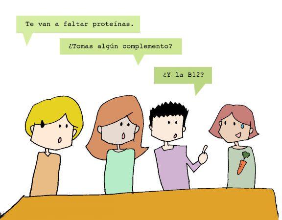 Te van a faltar proteínas. ¿Tomas algún complemento? ¿Y la B12?