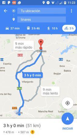 google maps pantalla de resultados con tres alternativas posibles sugeridas