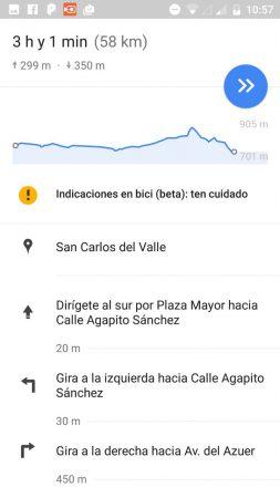 pantalla de vista previa de google maps con el esquema del perfil de nivel