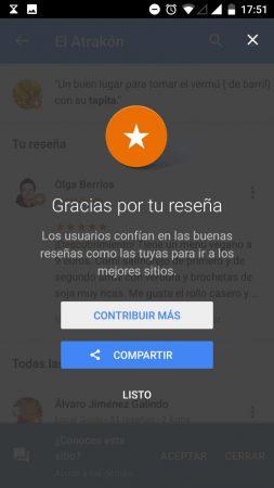 google maps recomendaciones - opciones tras reseñar un sitio