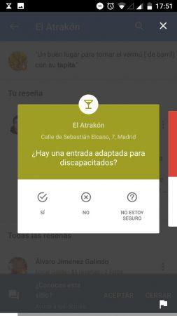 google maps recomendaciones - pregunta sobre accesibilidad física