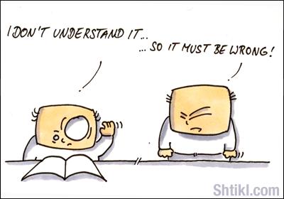 Viñeta con dos personajes. Uno mira un libro y dice que entiende. El otro contesta que tiene que estar mal