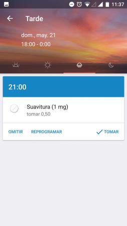 Medisafe app recordatorio medicinas. Pantalla de recordatorio