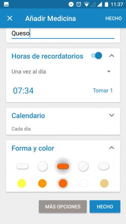 App medisafe recordatorios medicinas. Pantalla sobre cómo incluir un recordatorio