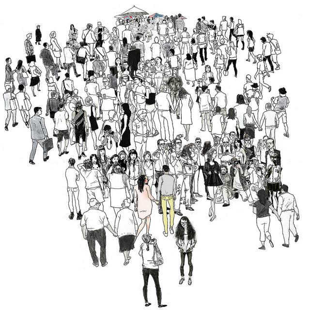 Ilustración de un gran grupo de personas diferentes