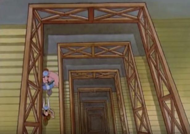 Astérix y Obélix bajan la escalera de nuevo