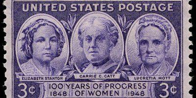 Sello estadounidense con retratos de Elisabeth Stanton y Lucretia Mott