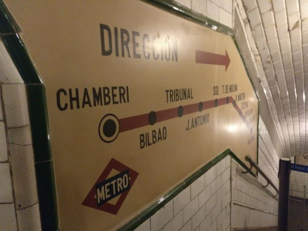 antiguo directorio de la línea 1 en la exposición andén 0 del metro de madrid