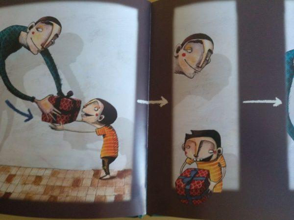 """""""El soldadito de plomo"""" sólo tiene una fila de ilustraciones. Cada ilustración se conecta con la siguiente con flechas para facilitar el orden de lectura. En este caso, también vemos a un personaje que da un regalo a otro. Una flecha ayuda a comprender el sentido del movimiento: quién le da el regalo a quién."""