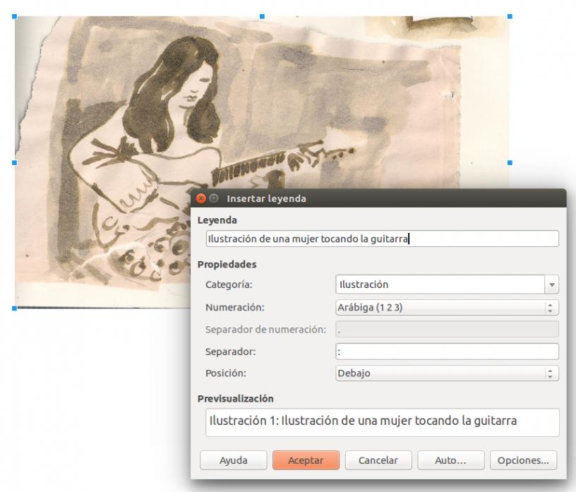 Opción para incluir textos alternativos en Libre Office