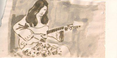 ilustración de mujer con guitarra