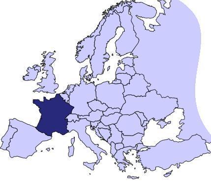 Francia en el mapa de Europa