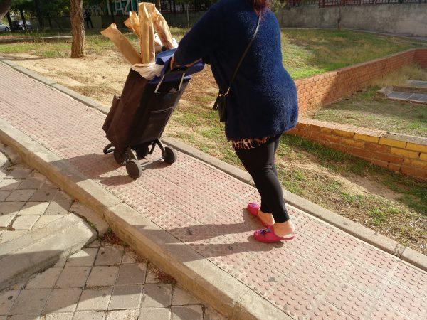 mujer sube rampa con carrito de la compra